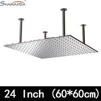 Бесплатная доставка продукты для ванной комнаты 24 дюйма 304 нержавеющая сталь никеля матовый, 60*60 см потолочная установка большой душ Head 26013FL