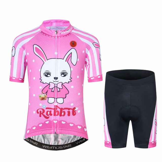 365cd8ed7 Weimostar Cute Girl Jersey and shorts set Bike clothing Rabbit Kid Cycling  With Pad Ropa Ciclismo