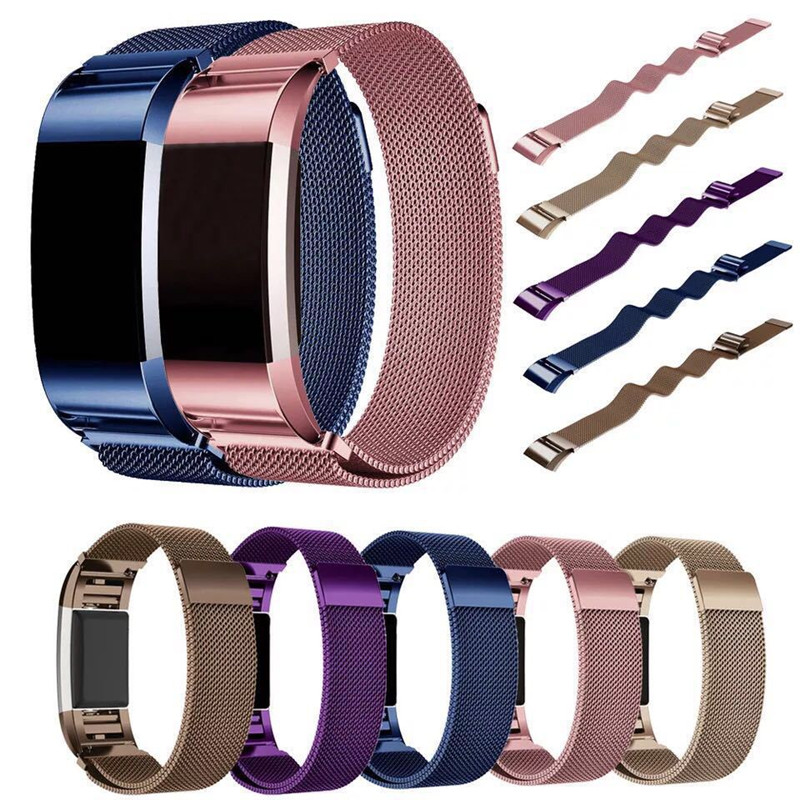 Fashion Magnetic Clasp Stainless Steel Watch Band for Fitbit Charge 2 Milanese Mesh Bracelet Strap Wrist Watch Bands for Charge2 stylish 8 led blue light digit stainless steel bracelet wrist watch black 1 cr2016