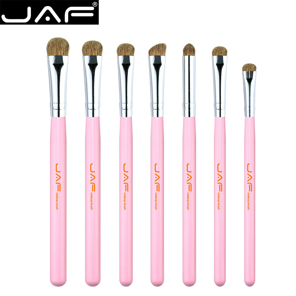 JAF classic 7pcs Eyebrow Brushes Set Pink Makeup Brush Kit Natural hair Eye Shadow eyeliner Brushes professional cosmetic tool 7pcs makeup brushes professional fashion mermaid makeup brush synthetic hair eyebrow eyeliner blush cosmetic