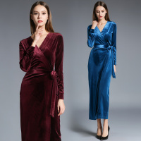 New Arrival Women High Fashion Red Blue Velvet Wrapped Long Formal Dress Long Sleeve Sexy V