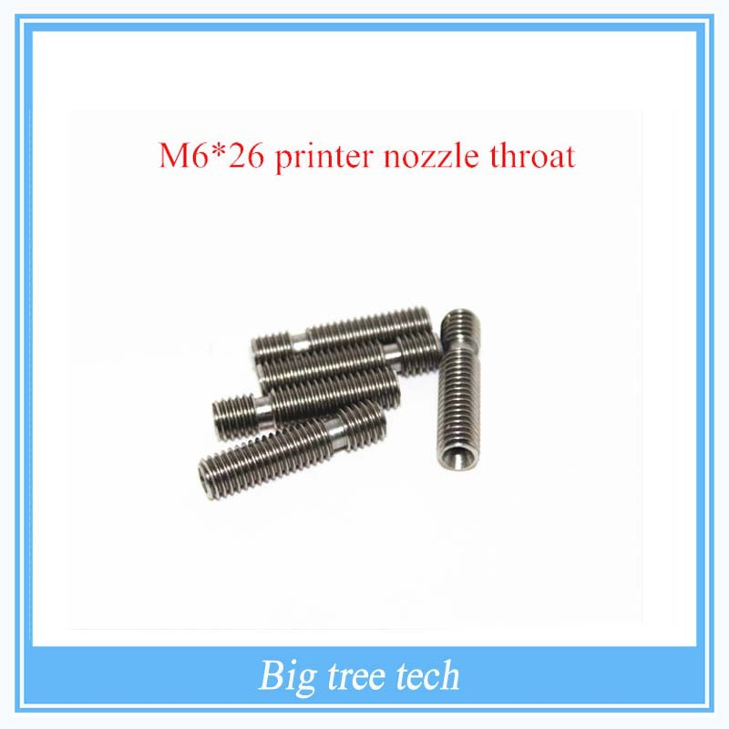 New RepRap 3D Printer M6*26 printer nozzle throat with Teflon tube for 1.75mm or 3.0mm for E3D V5