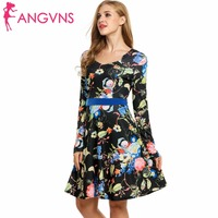ANGVNS Women Casual Print Dress Long Sleeve Spring Autumn Winter Midi Empire Dress 2017 New Vestidos