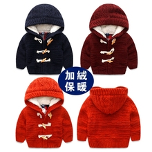 Boy with velvet hooded jacket Winter the new children's clothing, 2016 children's sweaters Baby keep warm with thick sweater