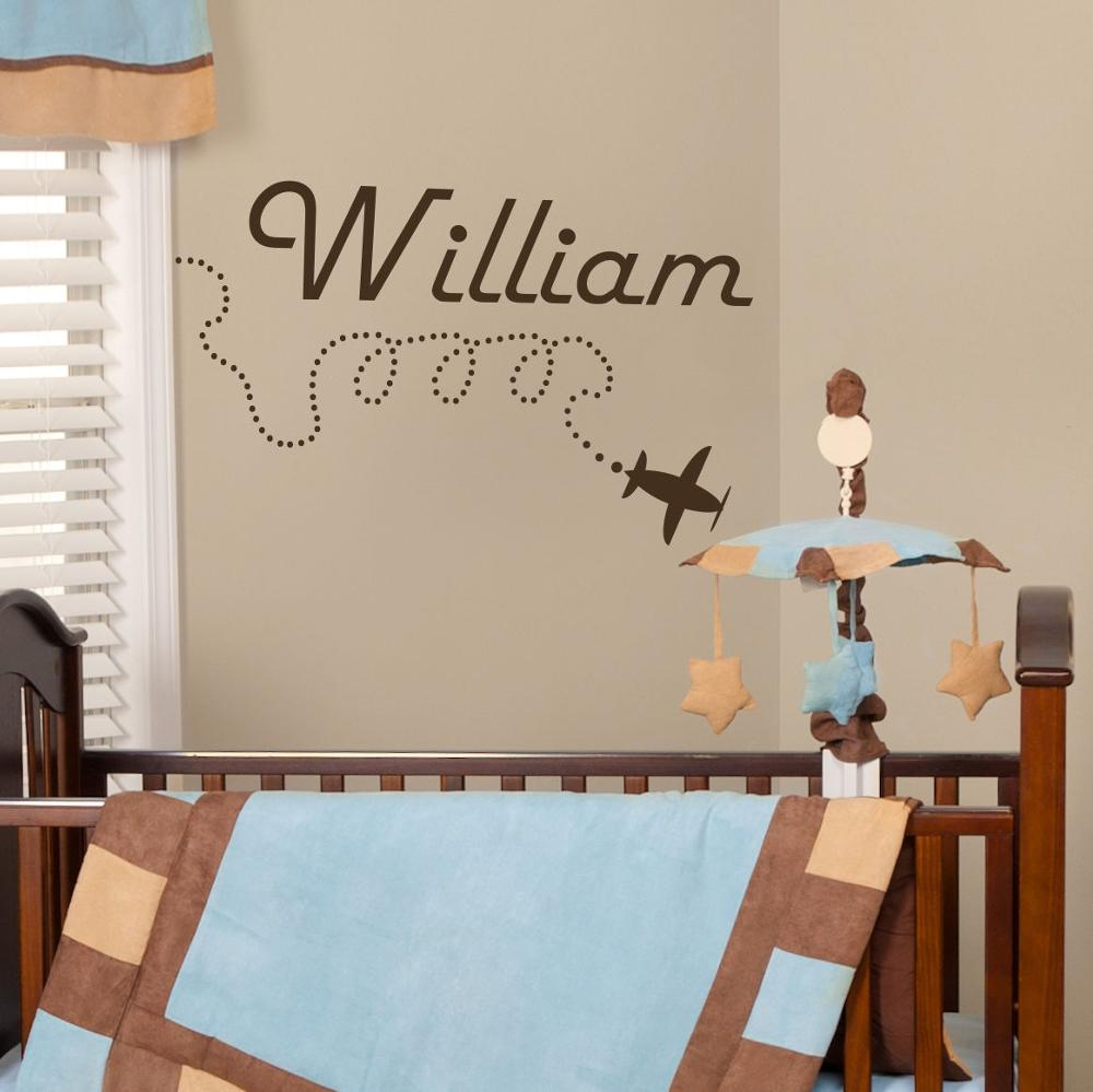 Us 11 47 35 Off New Arrival Wall Decal Personalized Name Aircrafts Plane Sticker Baby Boy Nursery Decor Modern Decoration In The Living Room