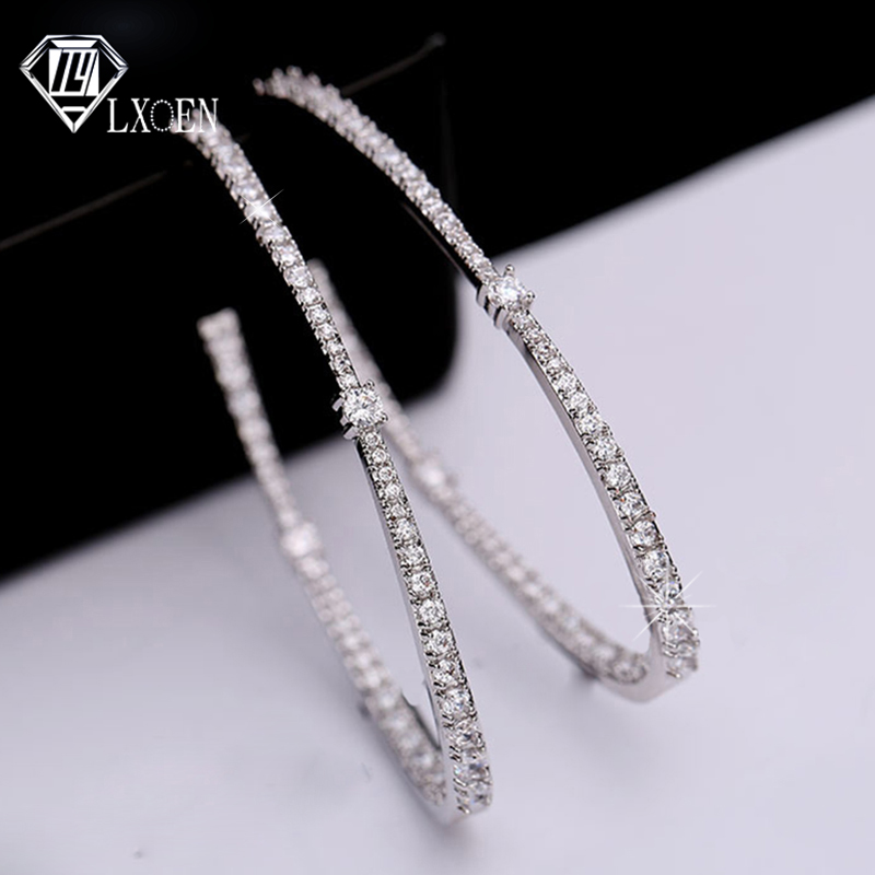 LXOEN Luxury Zirconia Big Women Hoops With White Gold Color Shining Crystal Round Hoop Earrings For Wedding Party
