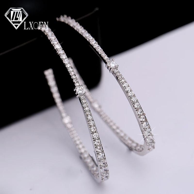 LXOEN Luxury Zirconia Big Women Hoops With White Gold Color Shining Crystal Round Hoop Earrings For Wedding Party