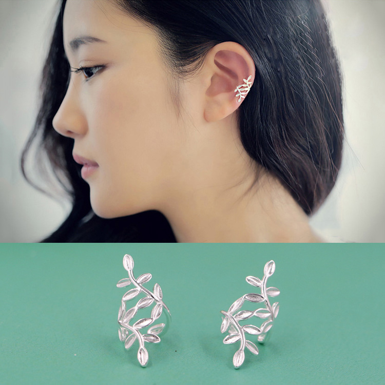 2018 Fashion S925 Sterling Silver Earrings Ear Clip for Women Fresh Vine Leaves No Pirce ...
