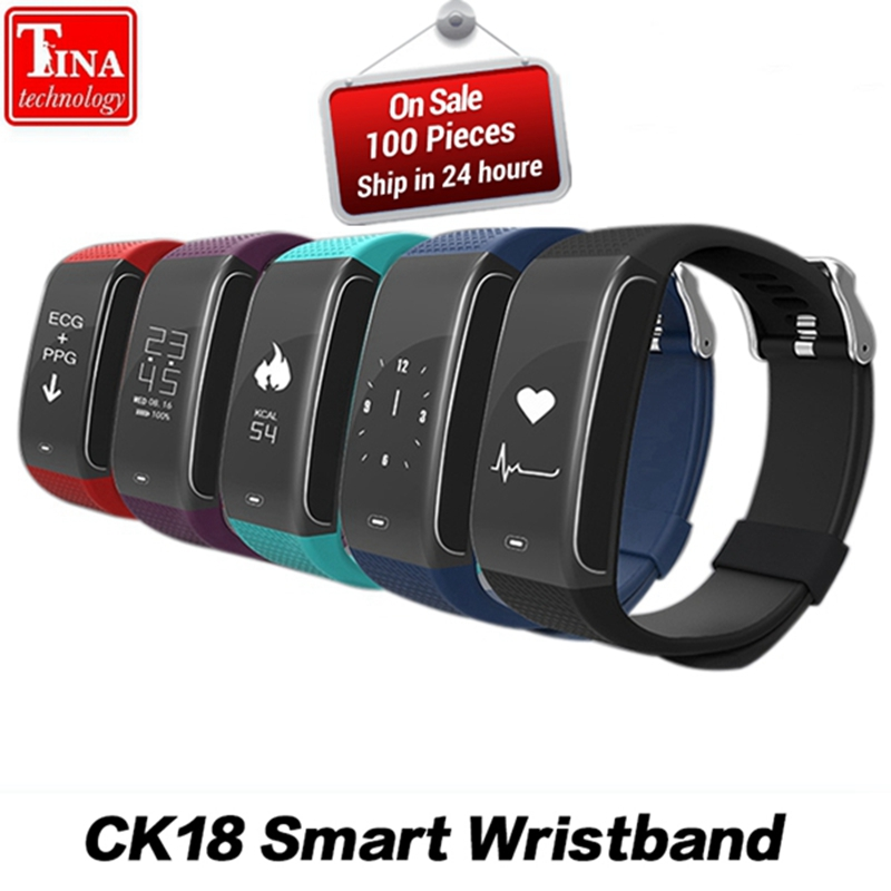 CK18 ECG Heart Rate Monitor Blood Pressure Monitoring Smart Bracelet Sports Bluetooth Sleep Monitor Watch Smart Phone Bracelet a09 ble4 0 heart rate blood pressure monitoring smart bracelet blue