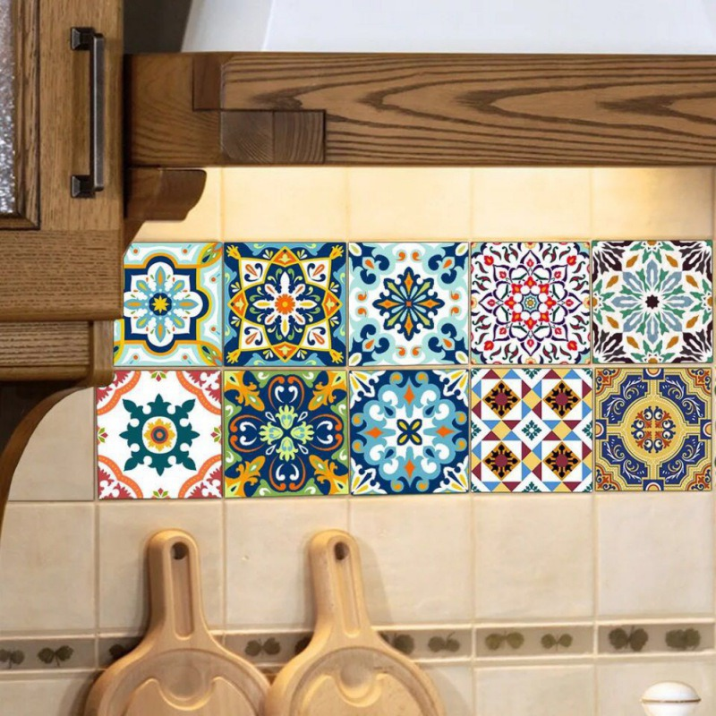 20 Pieces Of 20 * 20cm 3D Simulation Tile Paste European Retro Floor Wall Sticker Flower Home Wall Sticker Floor Sticker flower bridge river pattern 3d wall art sticker