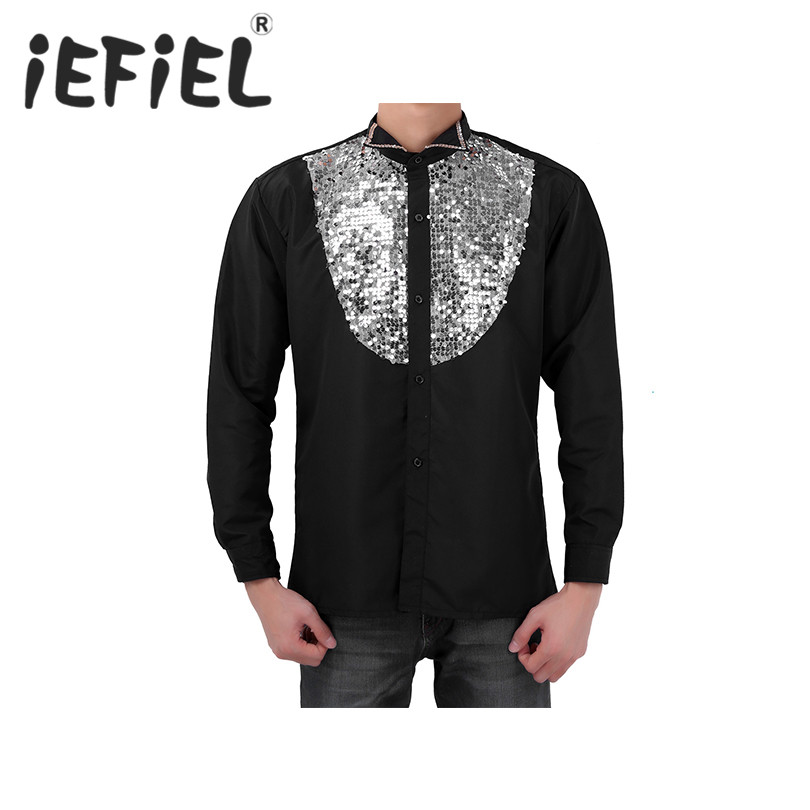 Fashion Male Mens Shirt Mens Shinning Sequins Decoration Long Sleeve Stage Performance Shirts Mens Clothing for Formal Occasion