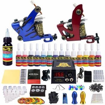 цена на Solong Tattoo Complete Starter Tattoo Kit 2 Machine Set Guns 14 Inks Power Supply Needles TK210