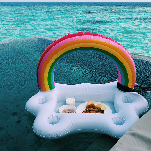 90cm Swimming Pool Inflatable Rainbow Cloud Floating Bar Tray Beach Drink  Bracket Accessories Dining Table For