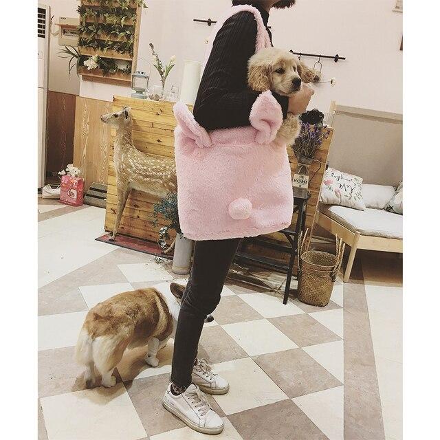 Прекрасный 3D кроличьи уши тотализаторов сумки для Для женщин 2018 зима пух Hairball хвост сумки на плечо милый розовый Сумки девушек повседневное
