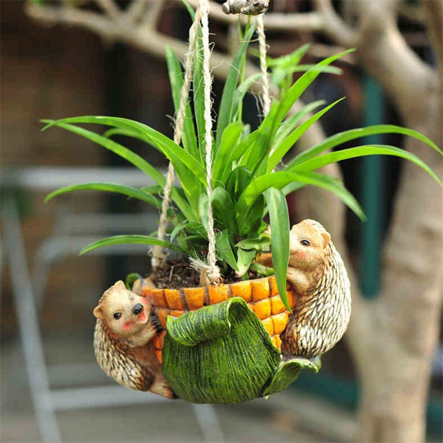 1PC Small Home Resin Garden Decoration Pot Hanging Flowerpot Ornament Outdoor  Garden Art Resin Figurine House Decor