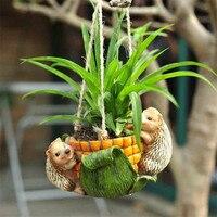 1PC Small Home Resin Garden Decoration Pot Hanging Flowerpot Ornament Outdoor Garden Art Resin Figurine House Decor