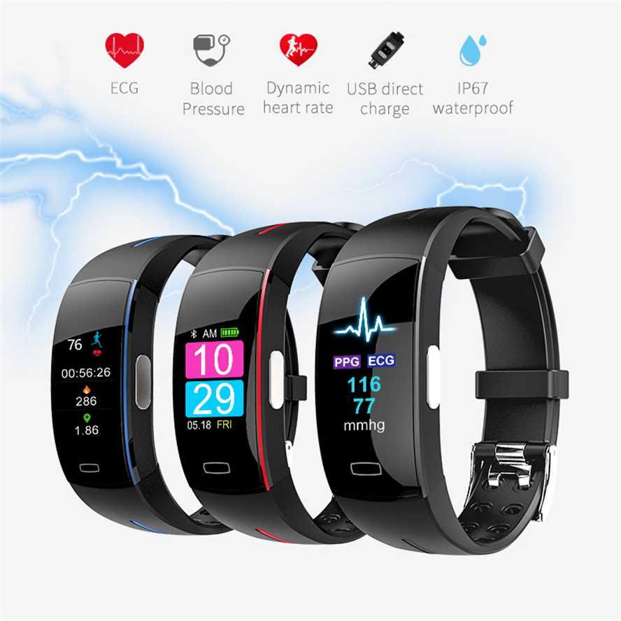 Buy WQ P3 ECG+PPG Color Screen Blood pressure Heart Rate Monitor Activity tracker Fitness Bracelet Clock Waterproof Smart Wristband for only 45.88 USD