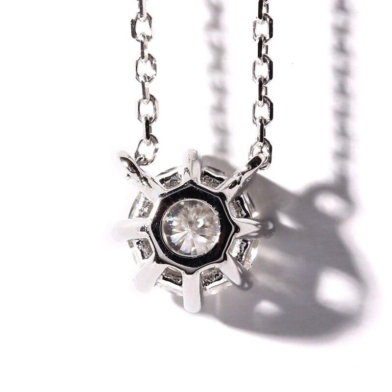 TransGems 1 Carat Lab Grown Moissanite Diamant 8 Cornedrue Solitaire  Pendentif Collier Solide 18 K Or Blanc pour les Femmes 6a3734cf4d5