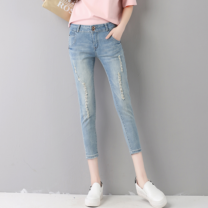 2017 summer design women jeans light blue cotton wide leg pants floral print straight trousers demin pants crop jeans pantalone women s summer floral print wide leg cropped pants