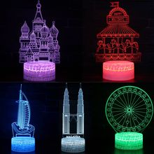 7 Colors FairyTale Castle Mosque LED 3D Illusion Visual Night Light Bedroom Desk Decoration Novelty Table Lamp Kids Gift