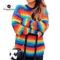 Для женщин Свитера, пуловеры женские Повседневное Джемперы 2018 осень зима с длинным рукавом Rainbow Для женщин свитера