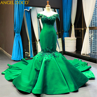 Luxury Satin Long Mermaid Evening Dress 2019 Formal Handmade applique Ball gown Real Photos Plus Size Red Carpet Celebrity Dress