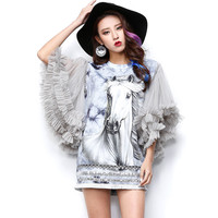 2016 Spring And Summer White Horse Printing Short Dress Women Sequined Fringed Mesh Sleeve Vestidos