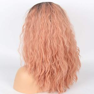 Image 4 - Marquesha Curly Ombre Candy Pink Synthetic Lace Front Wig Heat Resistant Fiber Replacement Pink Curly Bob Cut Wigs For Women