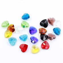 Charms Glass Crystal Heart Faceted Beads 14MM 20PCS/LOT Pendant Jewelry Findings Loose Beads Austria Accessories Crystal Beads
