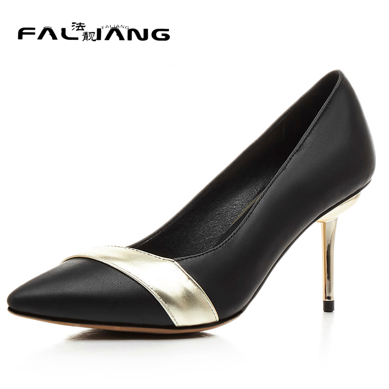 Spring Autumn The New Elegant Mixed Colors Pointed Toe High Heels Shallow mouth Thin Heels Black Work Shoes Ladies Single shoes original intention elegant spring autumn