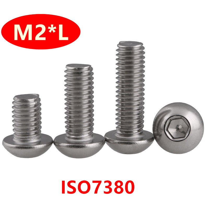 10Pcs M1.5 304 Stainless steel Allen knurled cup head screws hex bolts 2mm-20mm