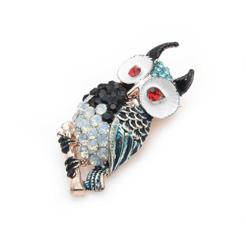 Inokeey Multicolor Rhinestone Beruntung Burung Hantu Bros Pin Hadiah Fashion Perhiasan untuk Wanita Buket
