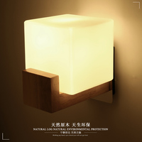 Nordic Japanese wood art bedside lamp e27 wall lamp led solid wood room bedroom Chinese simple