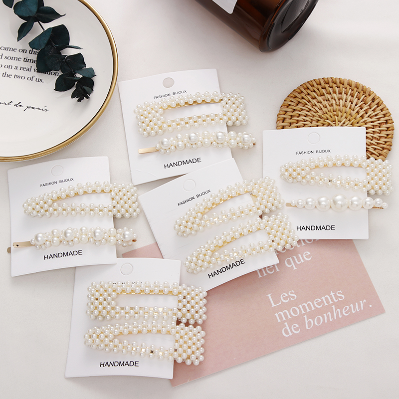 2PCS/Set New Ins Fashion Geometric Pearls Hair Clip For Girls Women Elegant Hairpin Headband Barrettes   Headwear   Hair Accessories