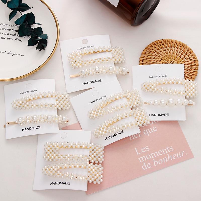 2PCS/Set New Ins Fashion Geometric Pearls Hair Clip For Girls Women Elegant Hairpin Headband Barrettes Headwear Hair Accessories