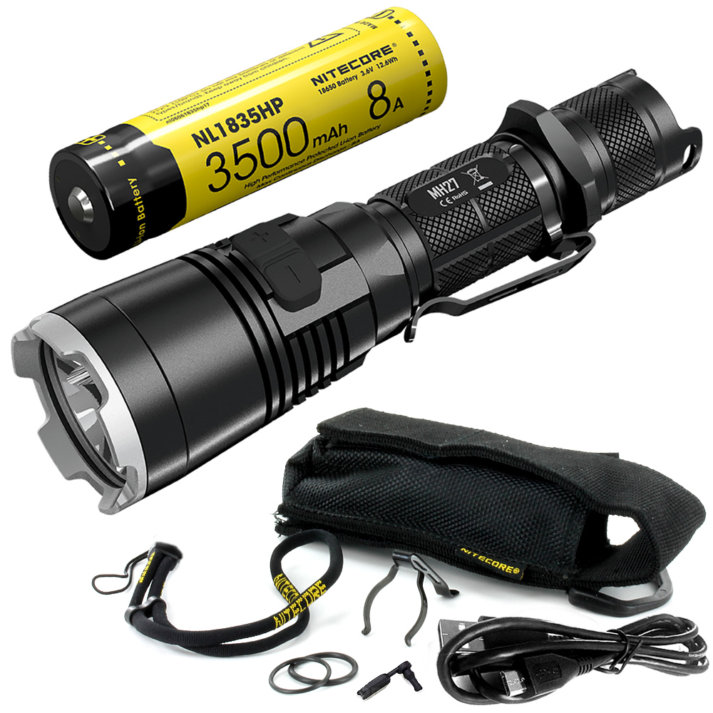 SALE NITECORE MH27 with 18650 Battery Rechargeable Flashlight CREE XP-L HI V3 1000LM RGB LED High Bright EDC Torch Free Shipping 2017 new nitecore p12 tactical flashlight cree xm l2 u2 led 1000lm 18650 outdoor camping pocket edc portable torch free shipping