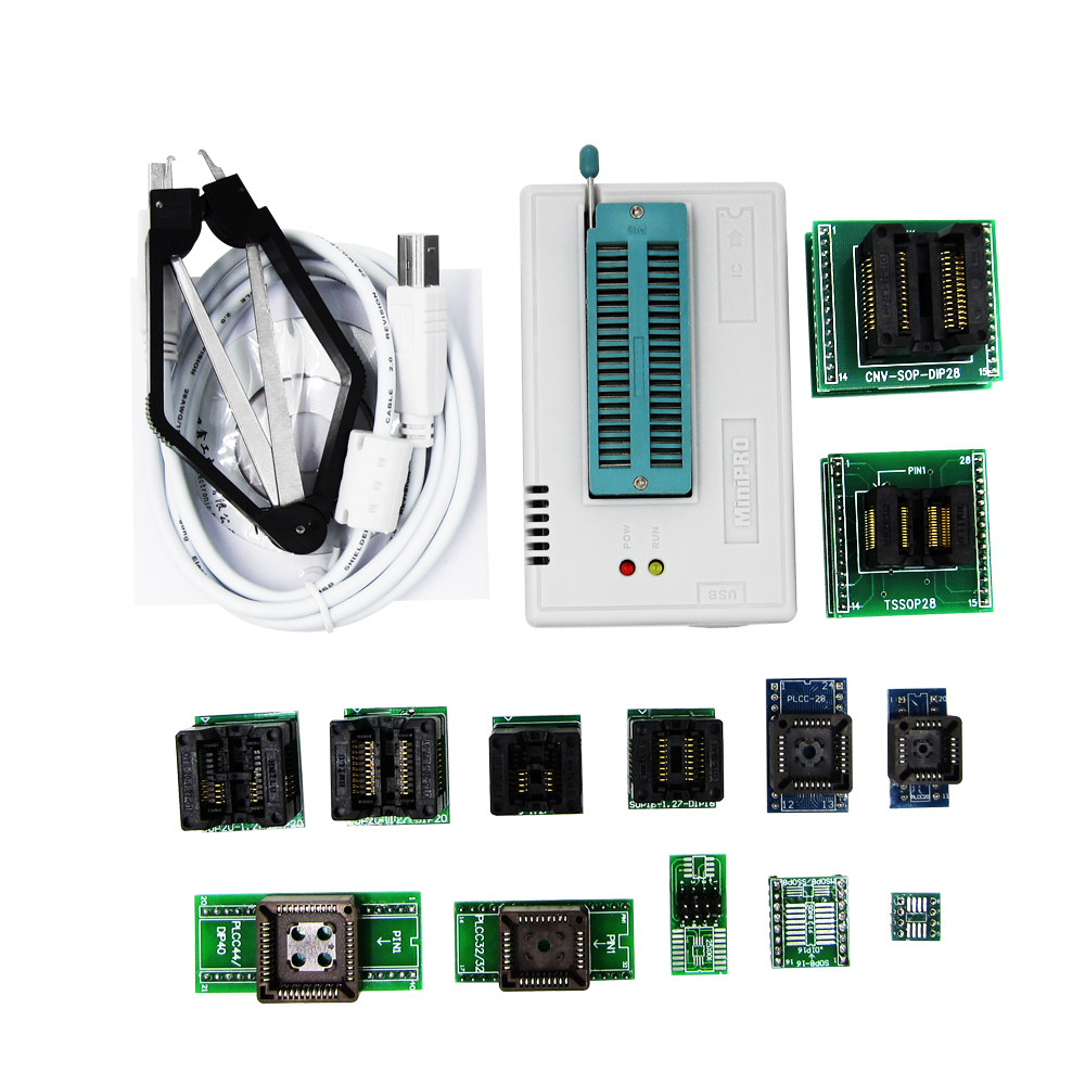 TL866CS programmer +13 universal adapters PLCC Extractor TL866 AVR PIC Bios 51 MCU Flash EPROM Programmer usb universal programmer flash 8051 avr mcu gal pic spi 5 adapters hot sale in stock