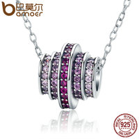BAMOER Genuine 925 Sterling Silver 2 Color Gradual Change Round Wheel Melody Pendant Necklaces For Women