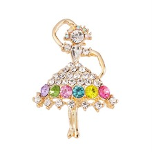 Elegant Colored Crystal Ballet Dancing Girl Rhinestone Brooches For Women Wedding Bouquets X0043