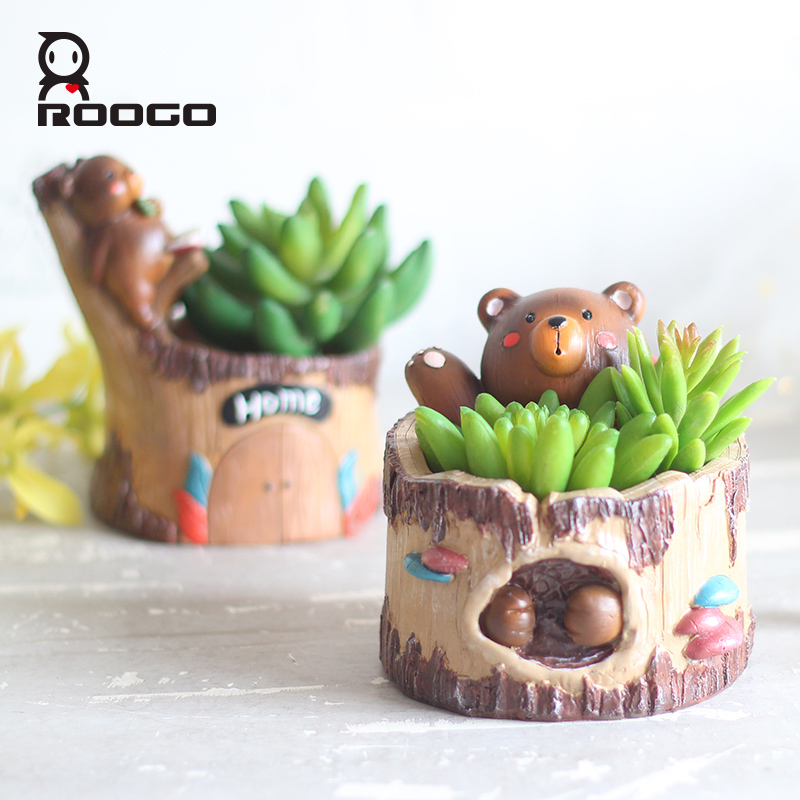 Roogo animal pots for flowers bear tree shape garden decoration vase cartoon succulent pot home decoration bonsai planter
