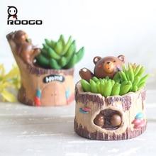 Roogo animal pots for flowers bear tree shape garden decoration vase cartoon succulent pot home bonsai planter