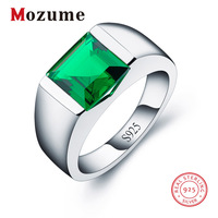 High Quality 2.3 ct Nano Russian Green Created Emerald Rings Solid 925 Sterling Silver For Men Wedding Party Fashion Jewelry