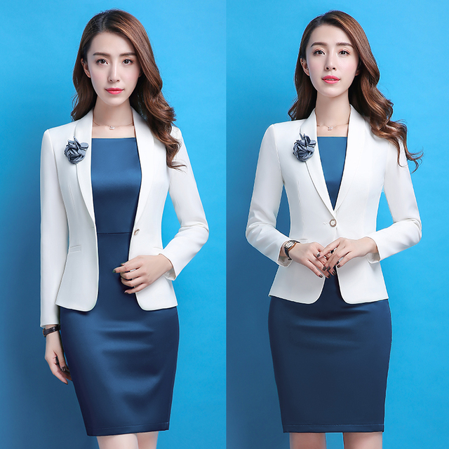 212eef071fe2d1 Women white Office Lady Dress Suits 2 Two Piece Sets Elegant Notched Jacket  Blazer + Fashion