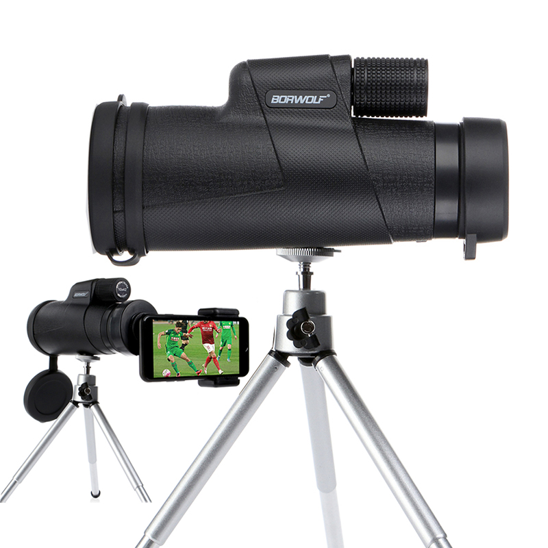 Borwolf Monoculars 10x42 Powerful Binoculars Zoom Field Glasses Great Handheld Telescope with Phone Clip for Bird Watching