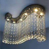 Newly LED Modern S Shape Art Deco NEW High Quality Modern Crystal Flush Mount With 6Lights