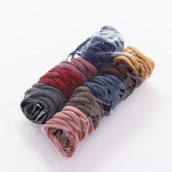 50/100PCS/Set Women Girls 4CM Colorful Nylon Elastic Hair Bands Ponytail Holder Rubber Bands Scrunchie Headband Hair Accessories 3