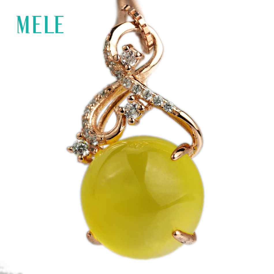 MELE Natural yellow prehnite silver pendant, round 12mm*12mm, deep yellow color, elegant for youny ladies MELE Natural yellow prehnite silver pendant, round 12mm*12mm, deep yellow color, elegant for youny ladies