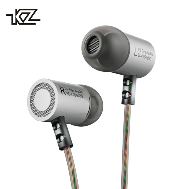 KZ ED4 In Ear Earphones Metal Heavy Bass Standard Noise Isolating Reflective Line 3.5mm Stereo HIFI Headphone with Mic Earbuds