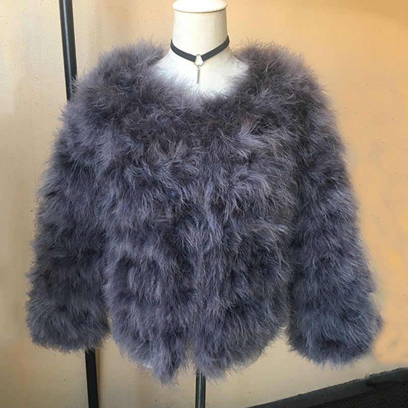 ee9d215fcaf 2018 new arrival natural Women Real Turkey Fur Coats and jackets Femme Genuine  Ostrich Feather Fur