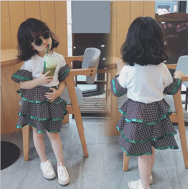 2018 teenage girls plaid white shirts + skirts clothing sets baby girls clothes sets school students suits costume 10 12 years 2018 teenage girls clothing sets summer casual children clothing kids clothes toddler girls suits t shirts tops plaid skirts
